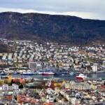Bergen vom Berg Fløyen aus gesehen